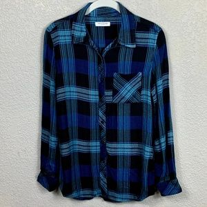 beachlunchlounge Flannel Plaid Button-Up Shirt XS